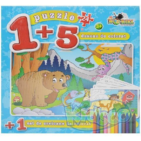 Puzzle 24 piese Coloreaza-ma Urs