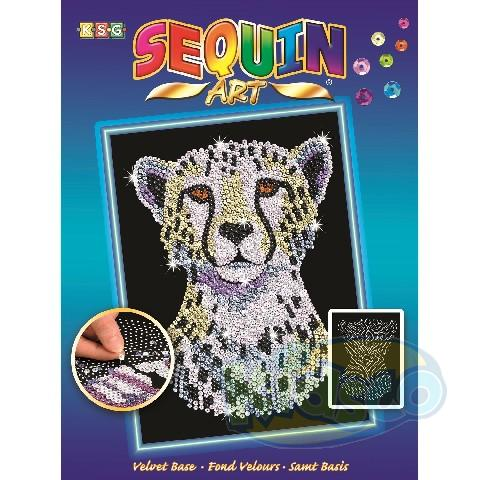 SEQUIN ART BLUE - SNOWY CHEETAH