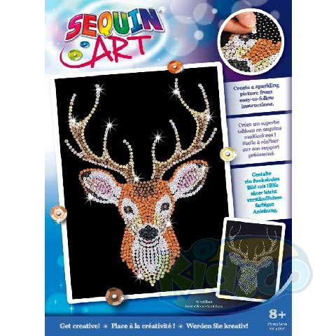 SEQUIN ART BLUE - STAG HEAD