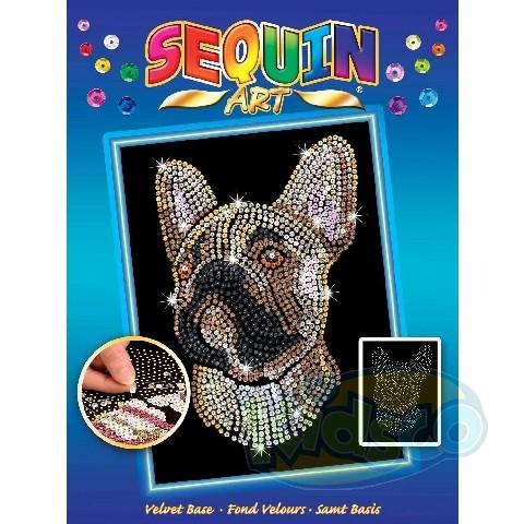 SEQUIN ART BLUE - FRENCH BULLDOG
