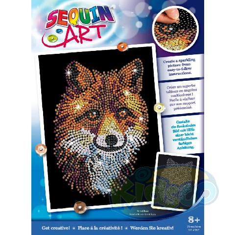 SEQUIN ART BLUE - RED FOX