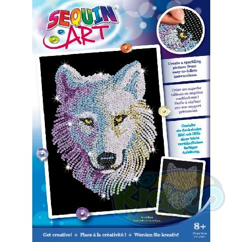 SEQUIN ART BLUE - SNOW WOLF