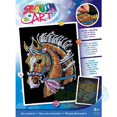 SEQUIN ART HORSE -NEW DESIGN BLUE BOX